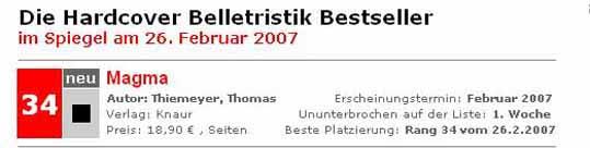Magma auf der Bestseller-Liste (02/2007)