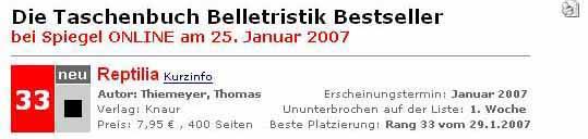 Reptilia auf der Bestseller-Liste (25.01.2007)