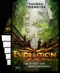 """Symbolbild Buchstapel """"Evolution: Die Stadt der Überlebenden"""" von Thomas Thiemeyer."""